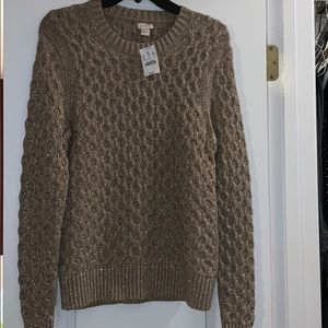 J. Crew Gold Shimmer Link Chain Sweater 🍁